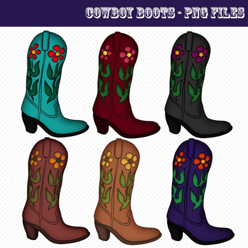 Cowboy Boots Clip Art, Cowboy Boots Graphics, PNG Files, Instant Download,  Downloadable Graphics, Western Boots Clipart, Cute Clipart.