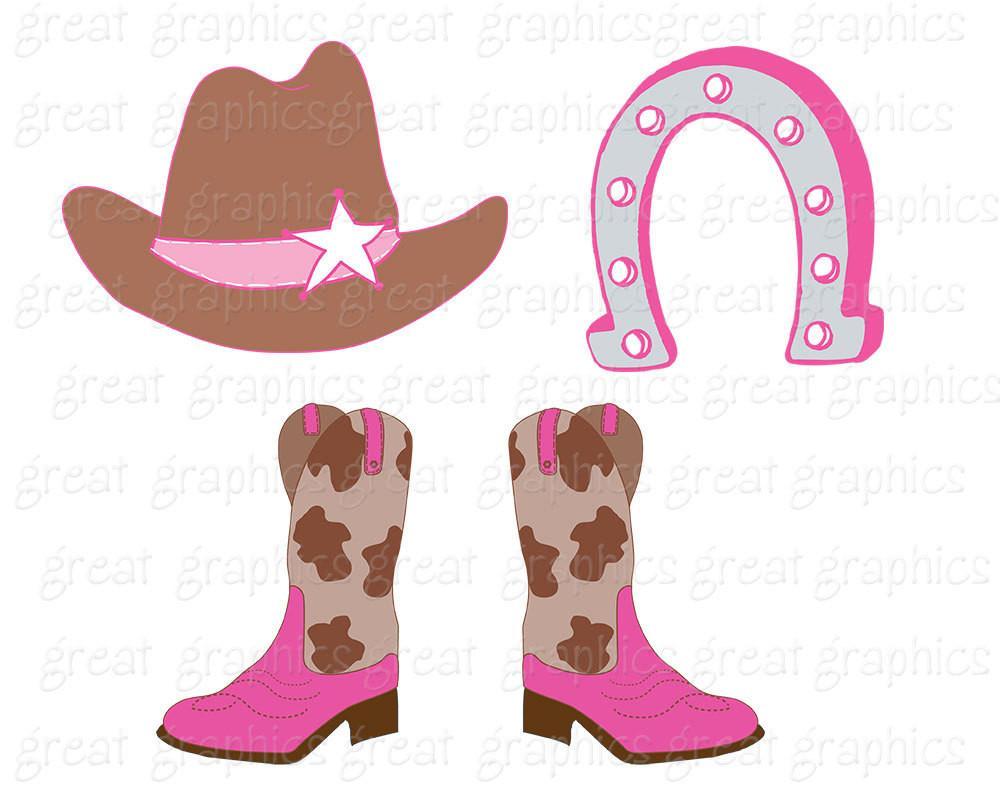 Cowboy Clipart Cowgirl Clip Art Digital Clip Art Pink Cowgirl Cowboy Hat  Clipart Cowboy Boots Instant Download.