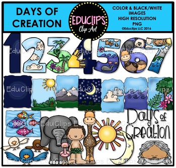 Days Of Creation Clip Art Bundle {Educlips Clipart}.