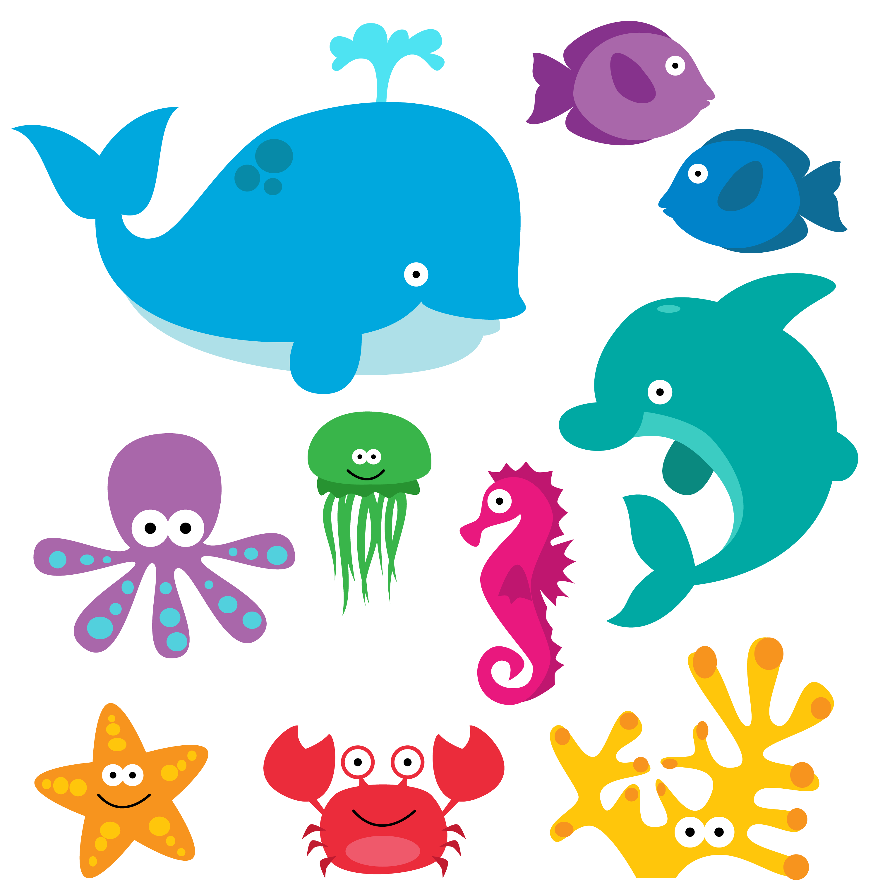 Sea Animal Clipart, Sea Animal Clip Art, Sea Creatures, Fish Clipart.