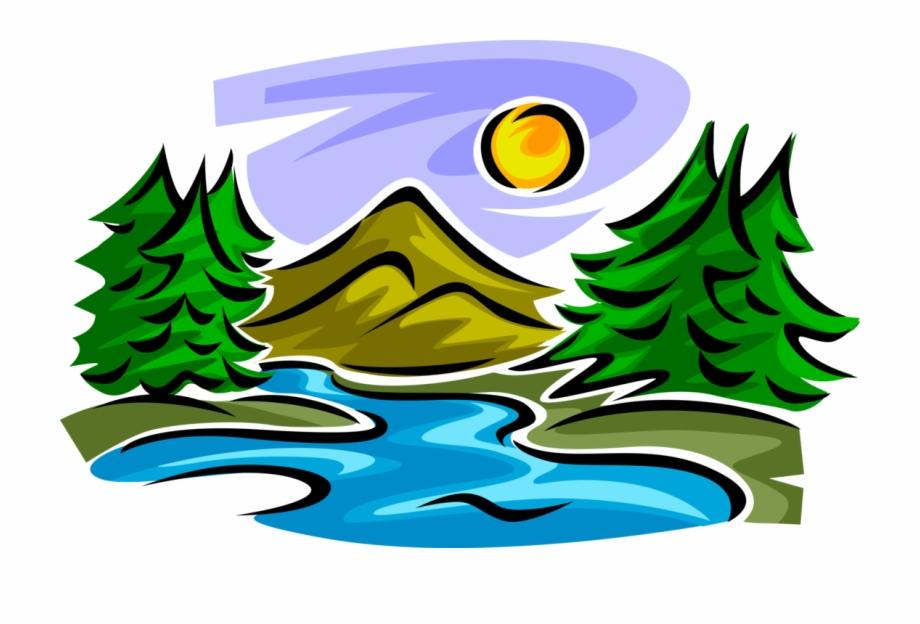 Vector Illustration Of Idyllic Mountain Stream Creek.
