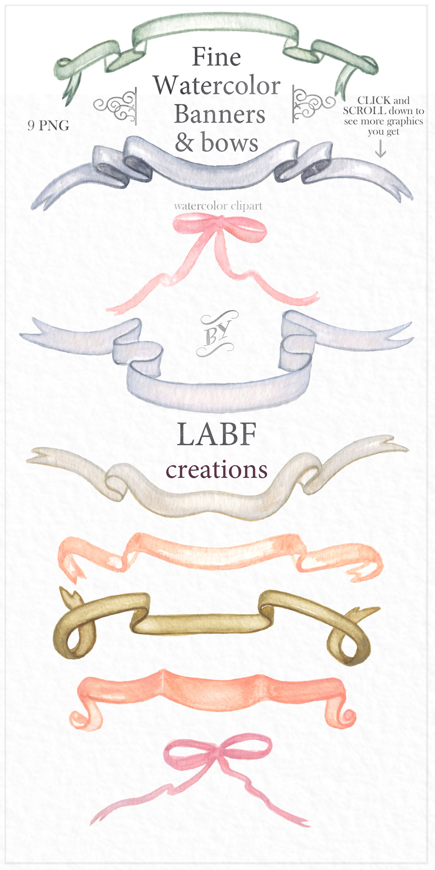 Crests, banners & bows. Watercolor clipart. By LABFcreations.