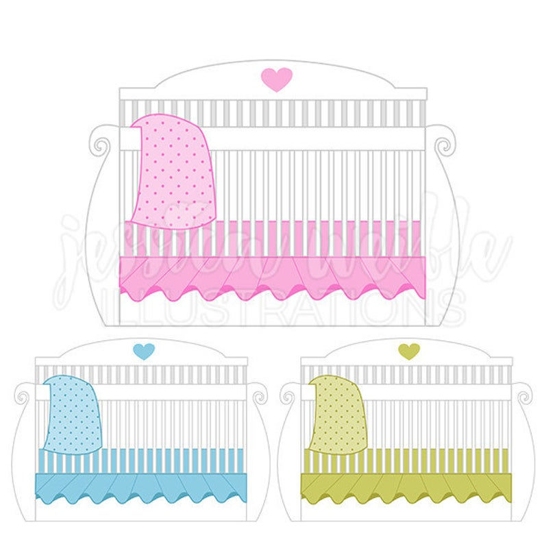 White baby Crib Cute Digital Clipart, Baby Bed Clip art, Baby Crib  Graphics, Baby Crib Bed Illustration, #111.