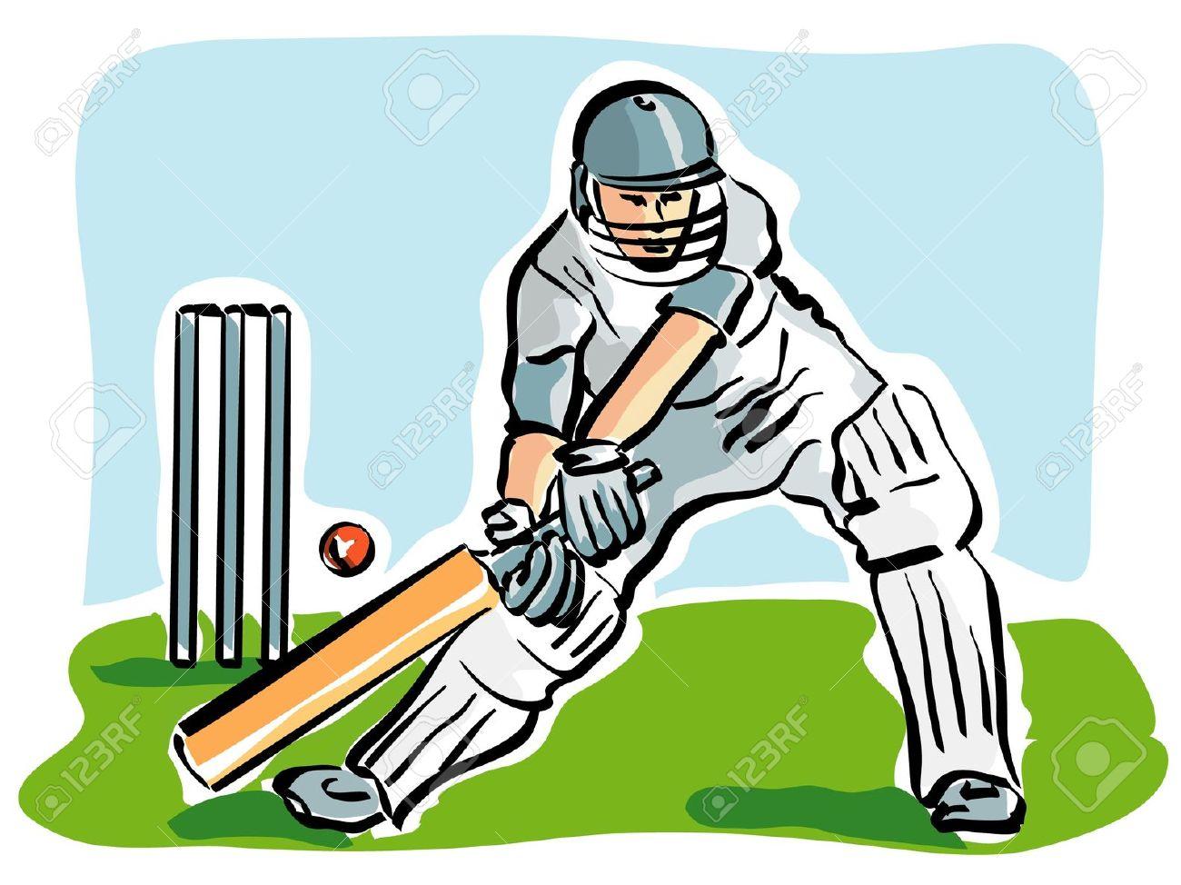 Cricket clipart cricket team pencil and in color.
