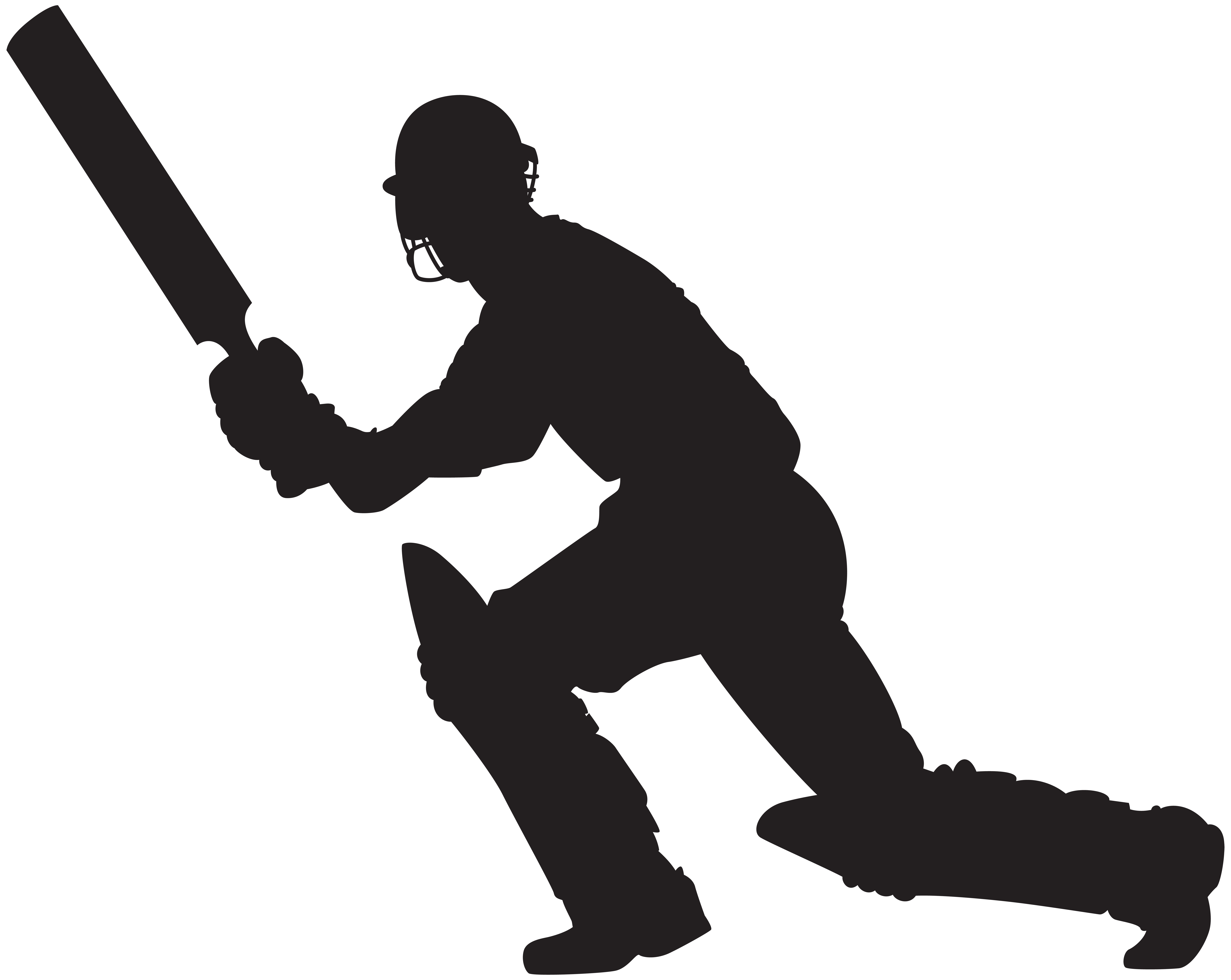 Cricket Player Silhouette PNG Clip Art Image.