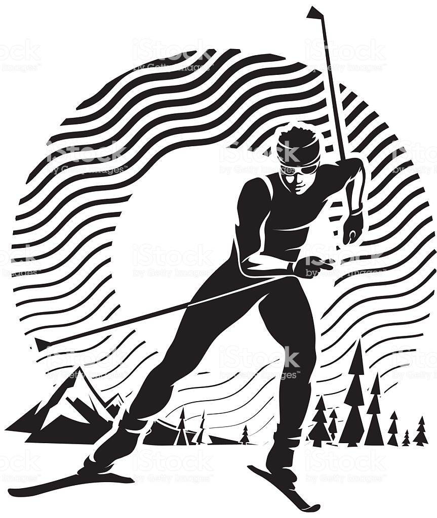Crosscountry Skiing Stock Illustration.
