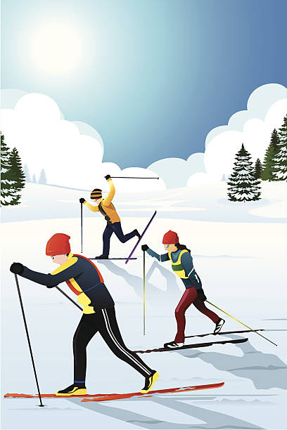 Best Cross Country Skiing Illustrations, Royalty.