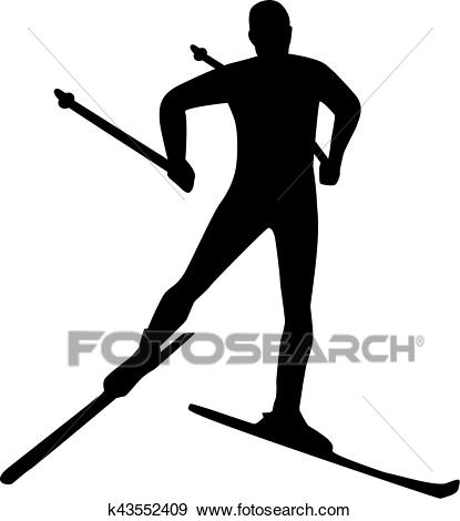 Silhouette cross country skiing Clip Art.