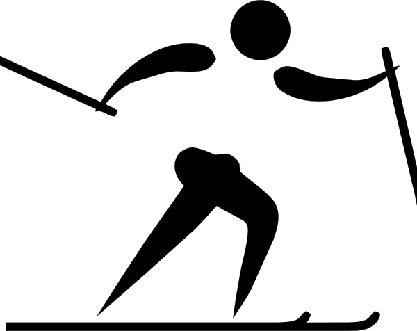Olympic Sports Cross Country Skiing Pictogram clip art Free vector.