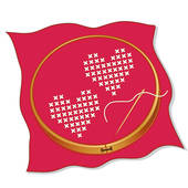 Two Hearts Embroidery Valentine Red Clip Art.
