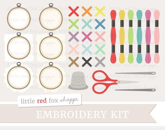 Embroidery Kit Clipart, Cross Stitch Clip Art Sewing Thread Needle Knitting  Crochet DIY Cute Digital Graphic Design Small Commercial Use.