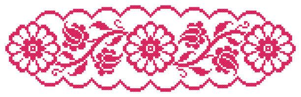 Best Cross Stitch Flowers Illustrations, Royalty.