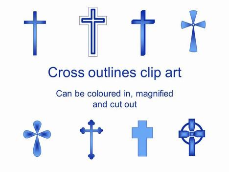 Cross Outlines Clip Art.