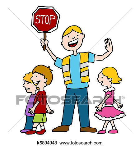 Crossing Guard and Children Walking Clip Art.