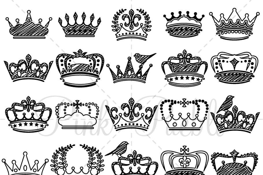 Doodle Crown Clip Art and Vectors.