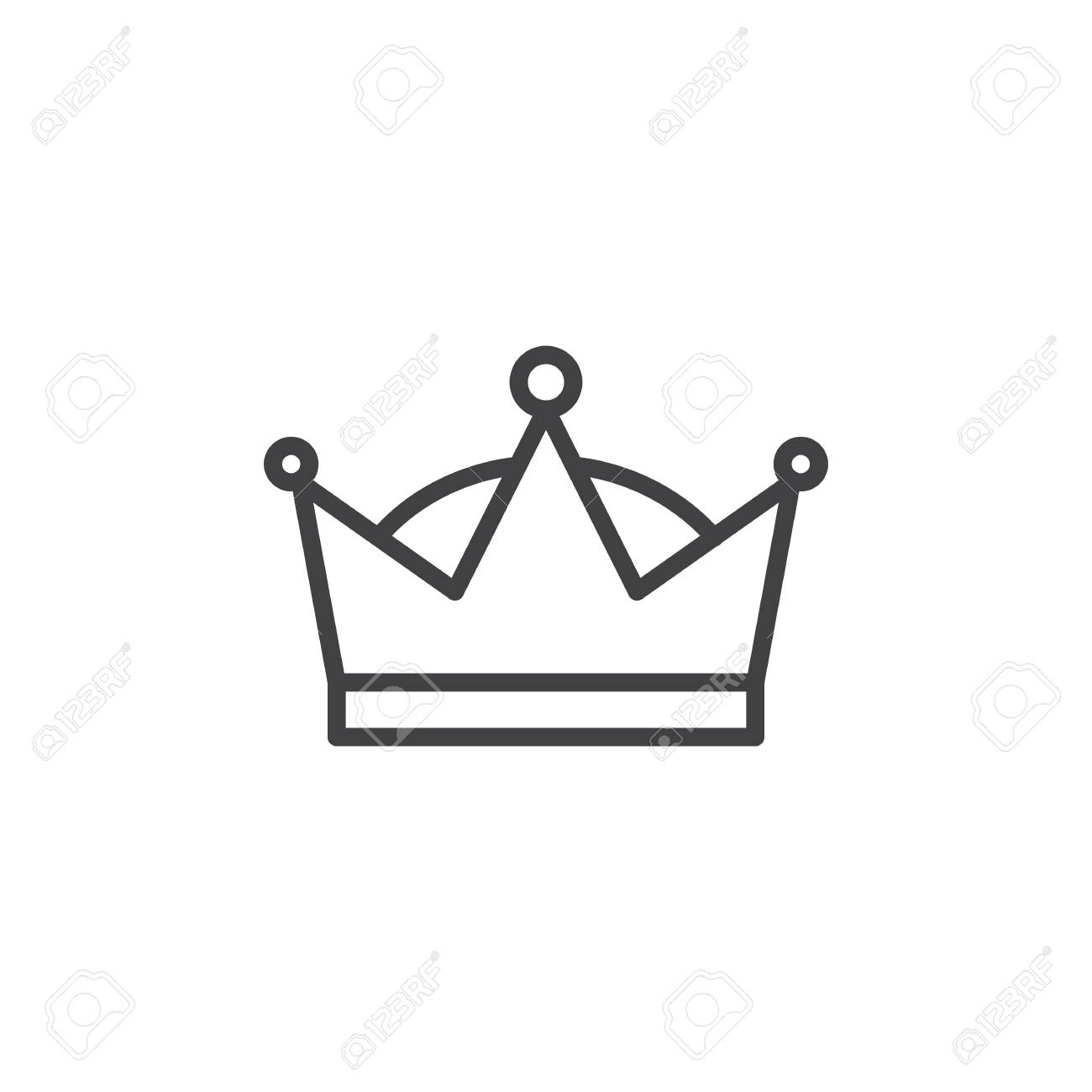 Queen crown icon, outline sign, linear style clip.
