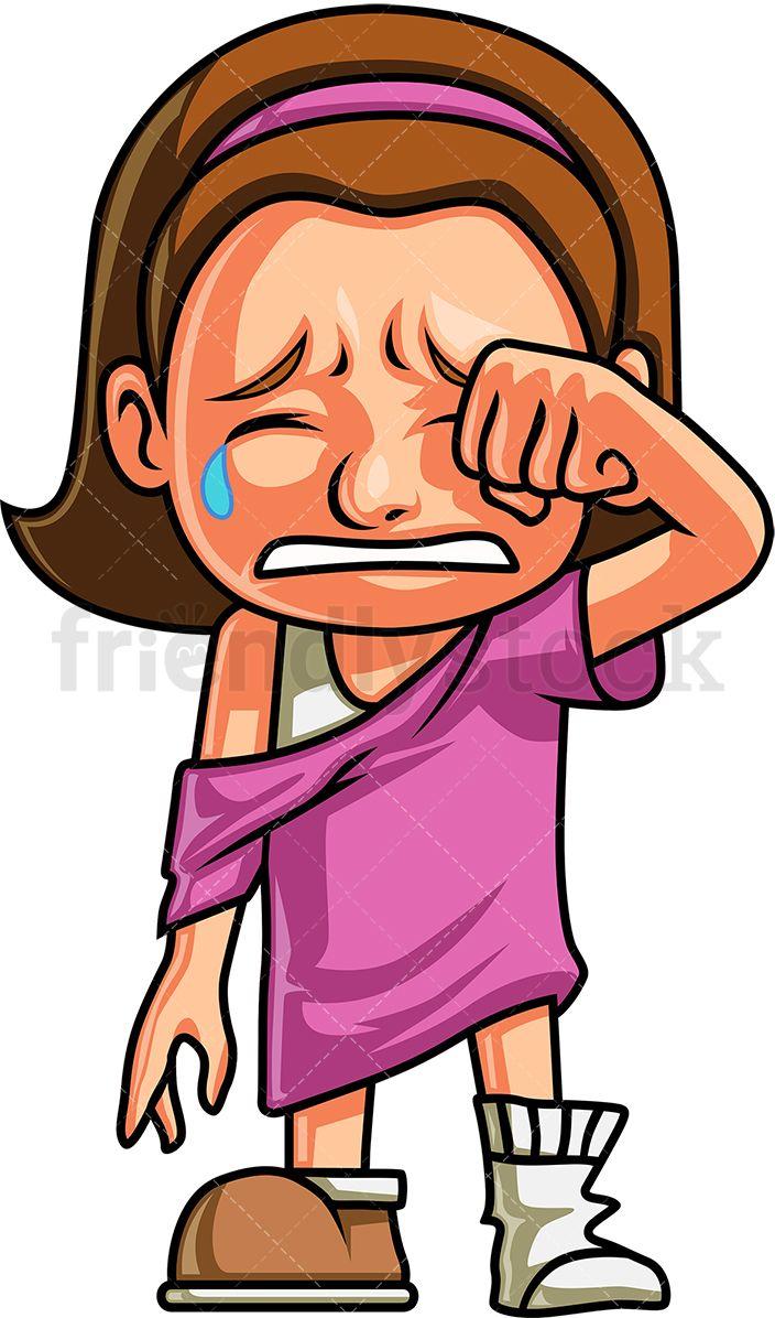 Crying Girl Wiping Away Her Tears.
