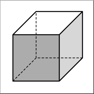 Clip Art: 3D Solids: Cube Grayscale I abcteach.com.