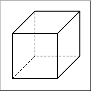 Clip Art: 3D Solids: Cube B&W I abcteach.com.