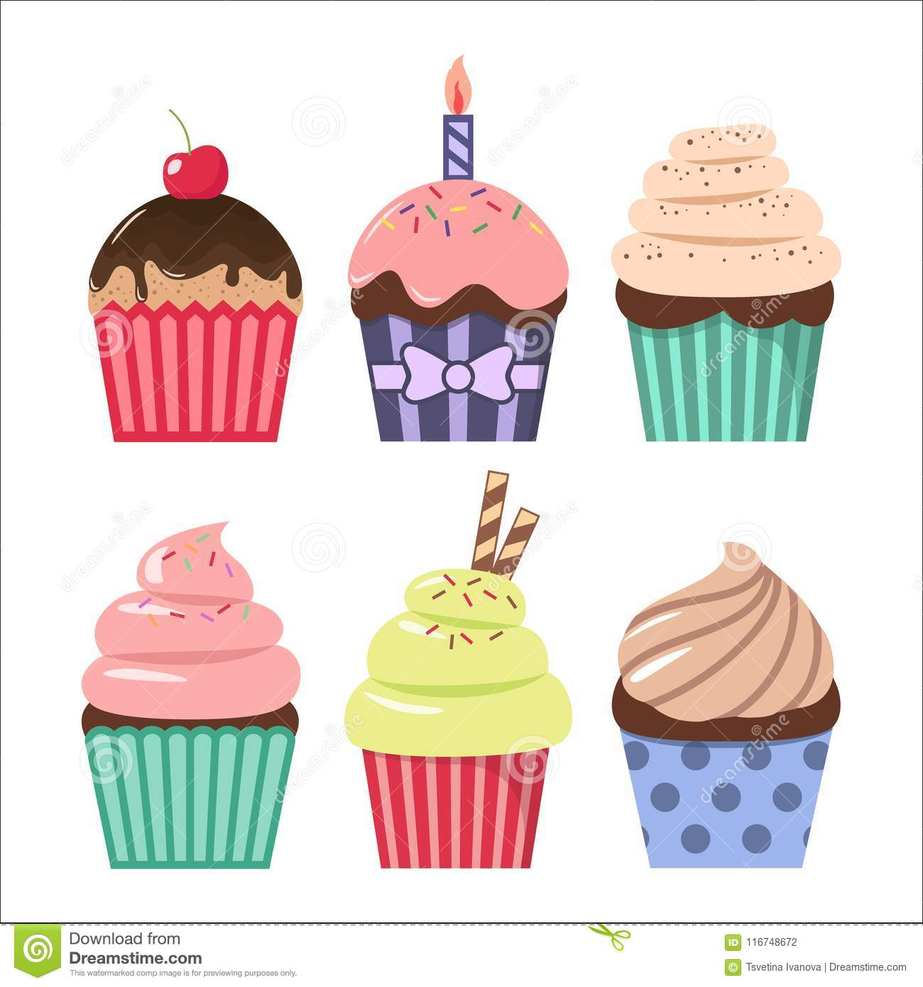 Clip Art Cartoon Cupcake Set. Colorful Cupcakes Clipart Cartoons.