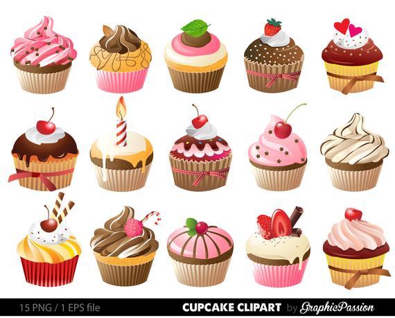 Cupcakes clipart digital cupcake clip art cupcake digital illustration  cupcake Vector birthday cakes bakery sweets frosting chocolate.