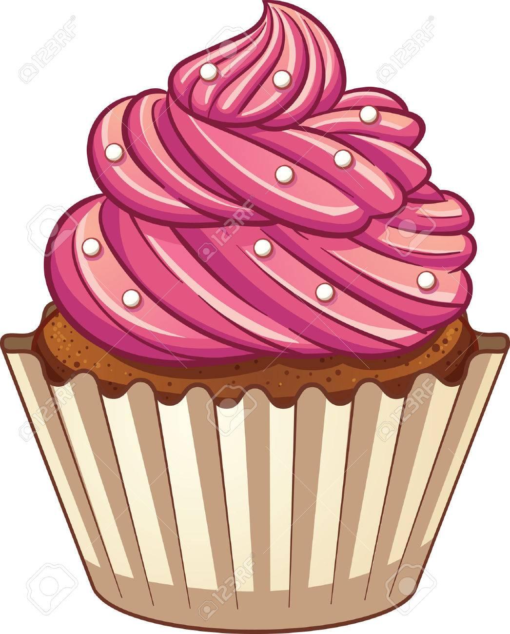 Cartoon cupcake. clip art illustration with simple gradients.