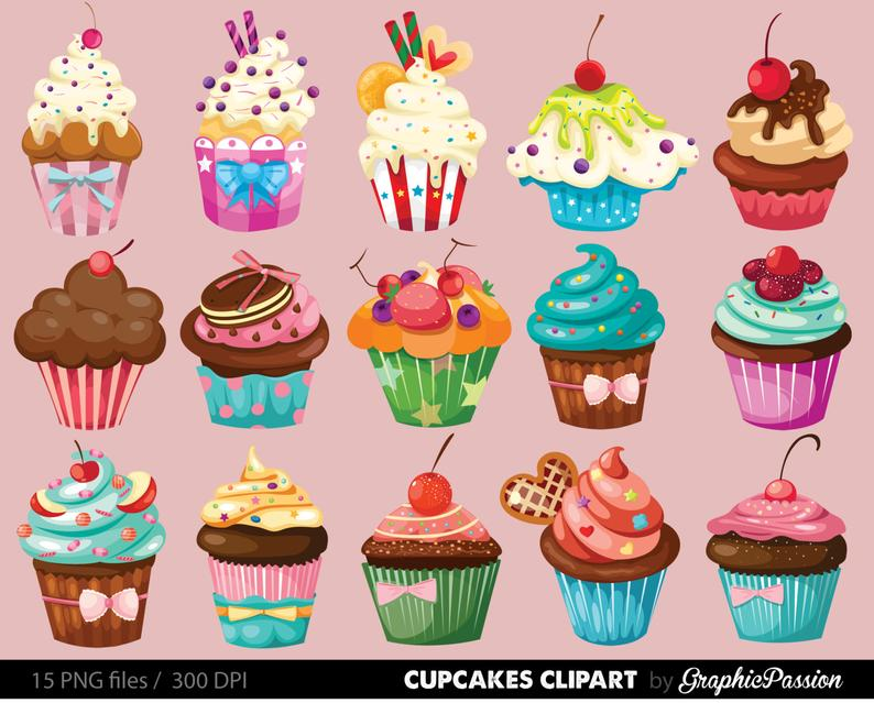 Cupcakes clipart digital cupcake clip art cupcake digital illustration  cupcake Vector birthday cakes bakery sweets frosting chocolate.
