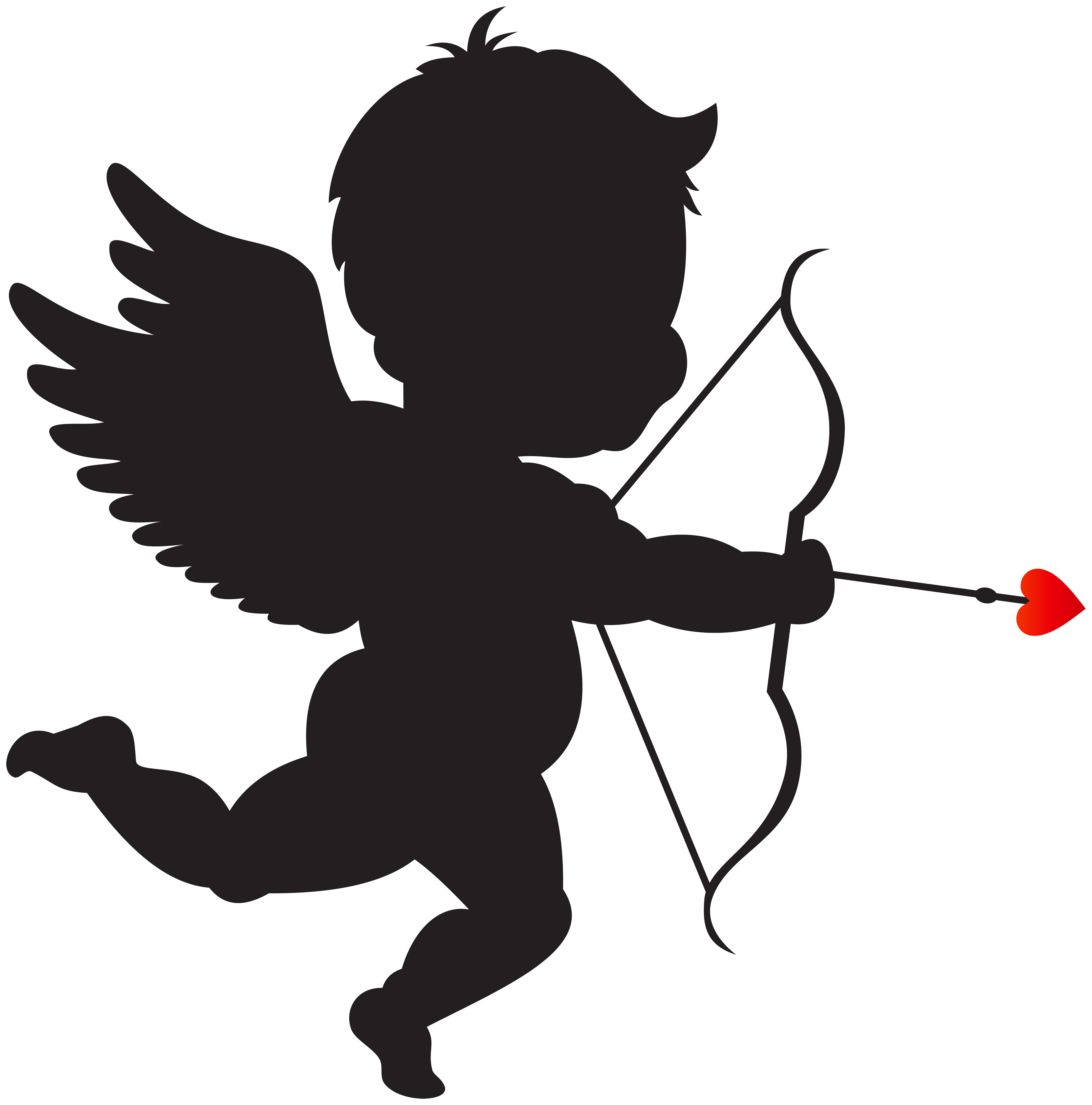 Cupid with Bow Silhouette PNG Clip Art Image.