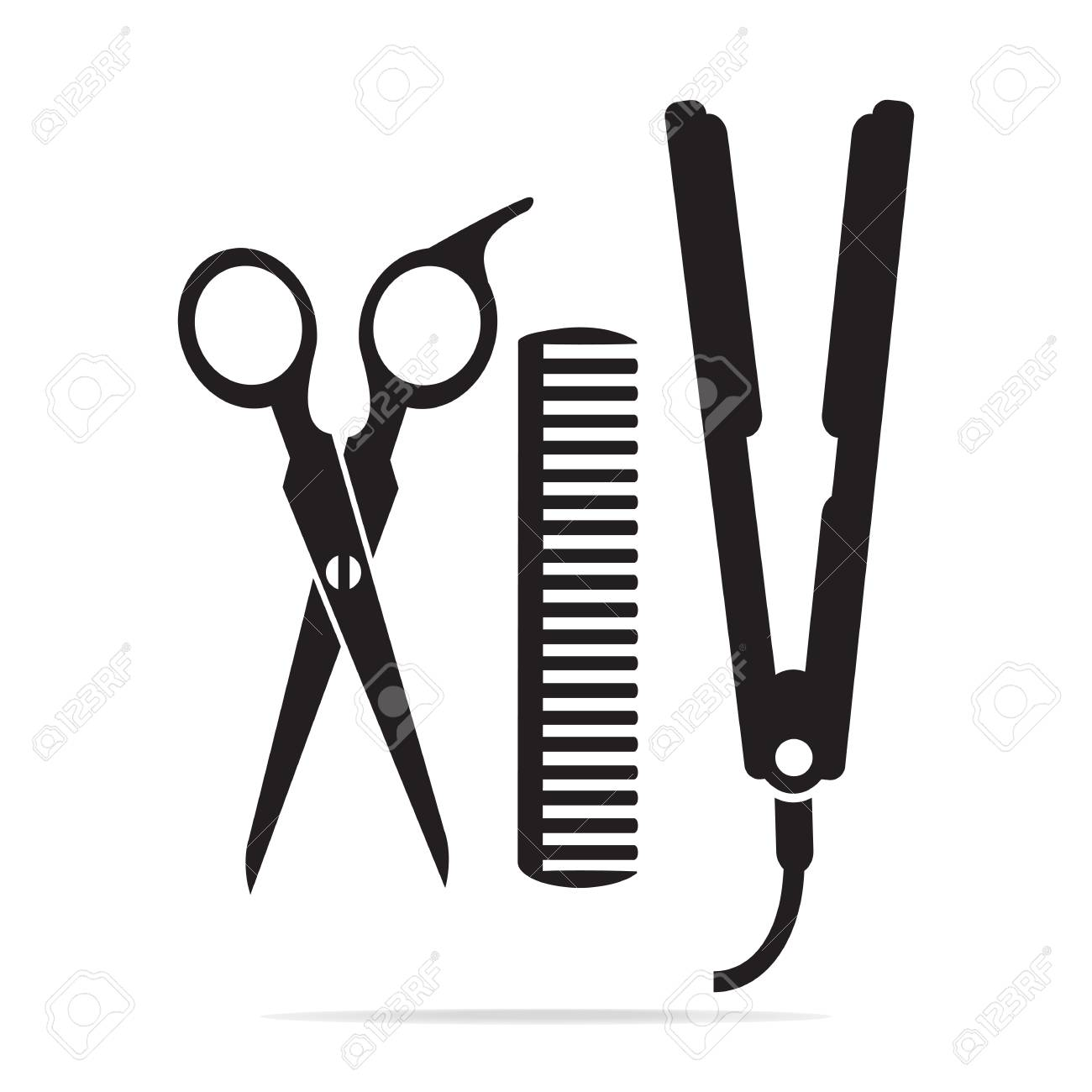 Hair salon with scissors, comb icon, curling iron icon.