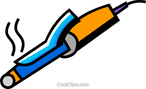 Curling Irons Royalty Free Vector Clip Art illustration.