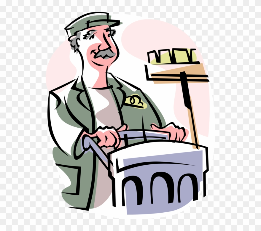 Vector Illustration Of School Janitor Custodian With.