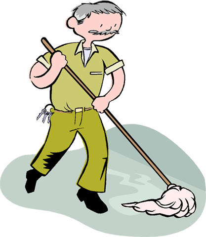 man mopping the floor, janitor Royalty Free Vector Clip Art.
