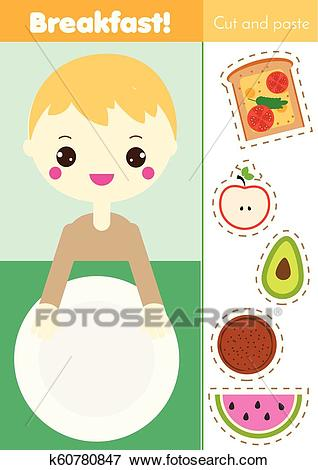 Cut and paste children educational game. Paper cutting activity. Make a  breakfast food with glue. DIY worksheet. Clip Art.