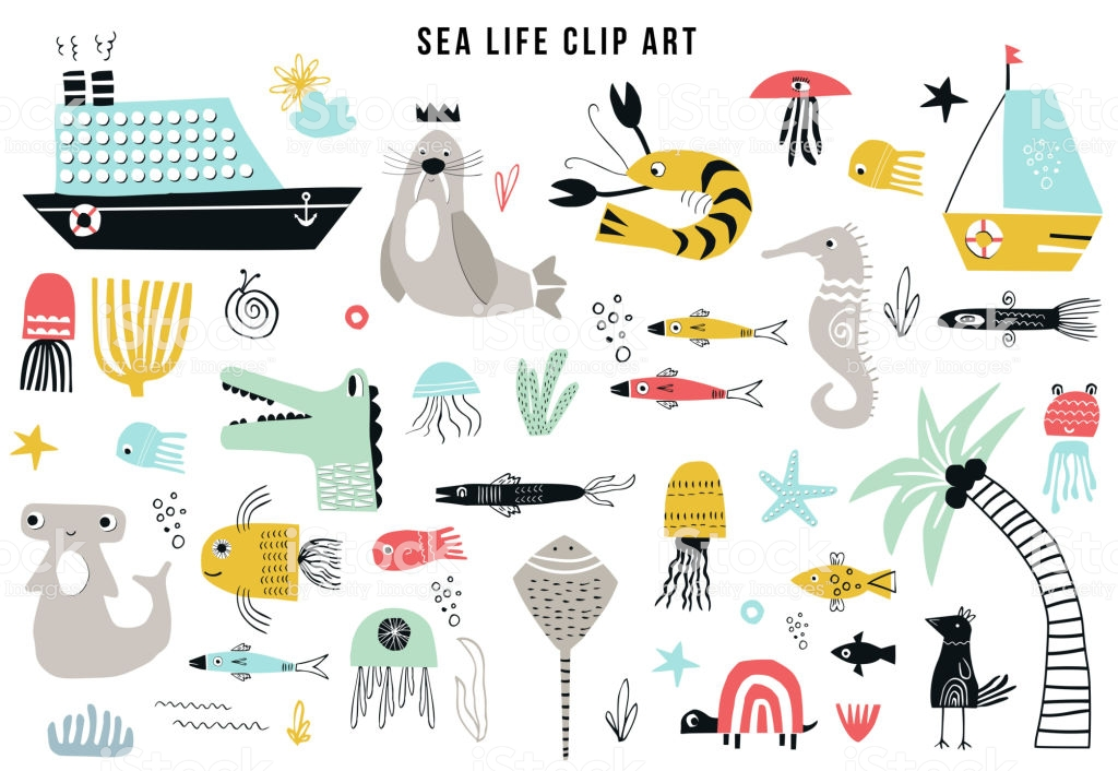 Big Kids Sea Life Clipart Collection A Large Set Of Items On The.