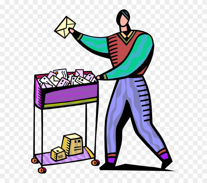Vector Illustration Of Mailroom Office Worker Delivers.