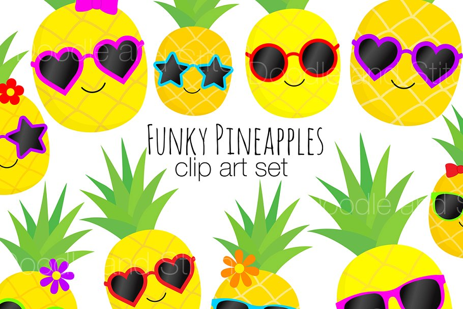 Funky Pineapple Clipart Designs.