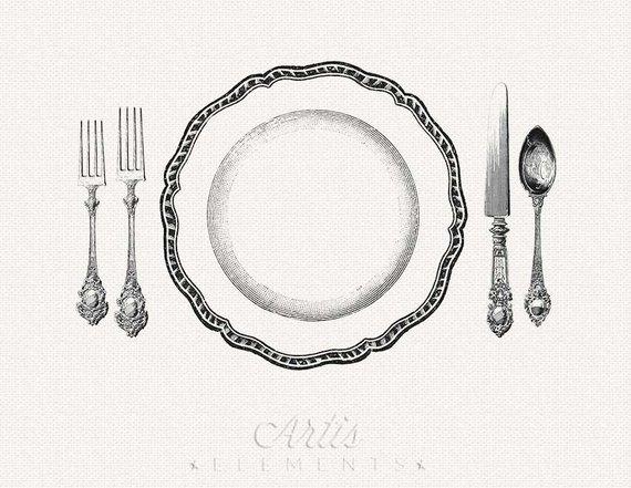 Printable Place Setting Dinner Plate, Knife, Fork, Spoon.
