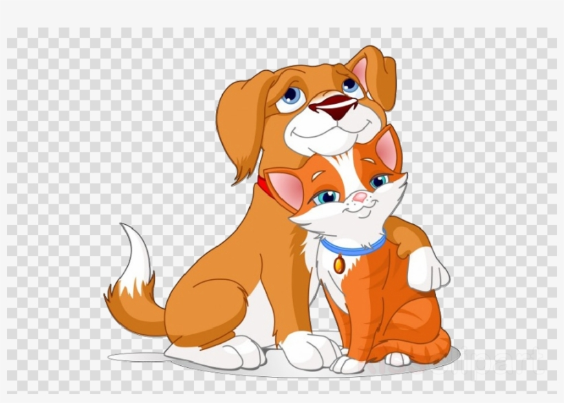 Cartoon Dog Hugging Cat Clipart Dog Puppy Cat.