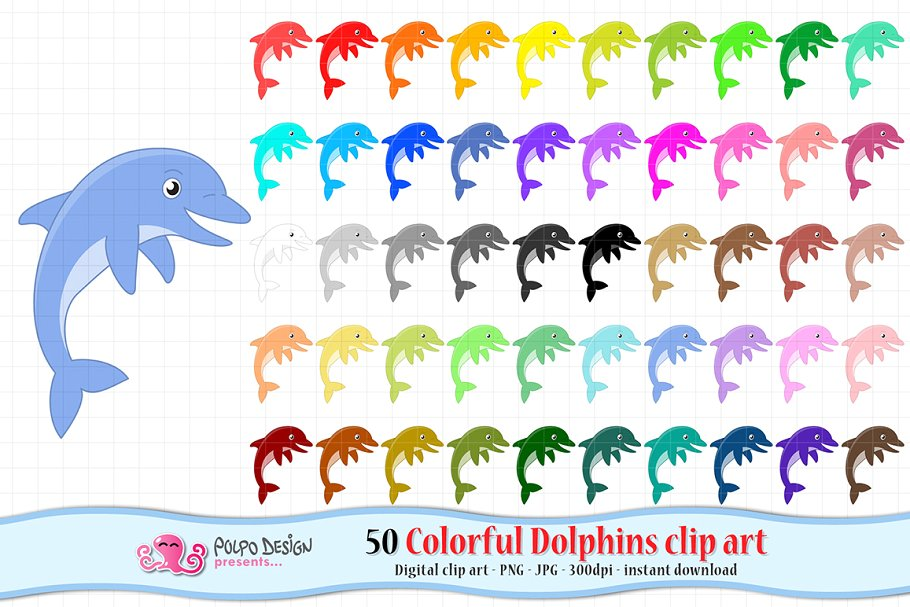 Colorful Dolphins clipart.