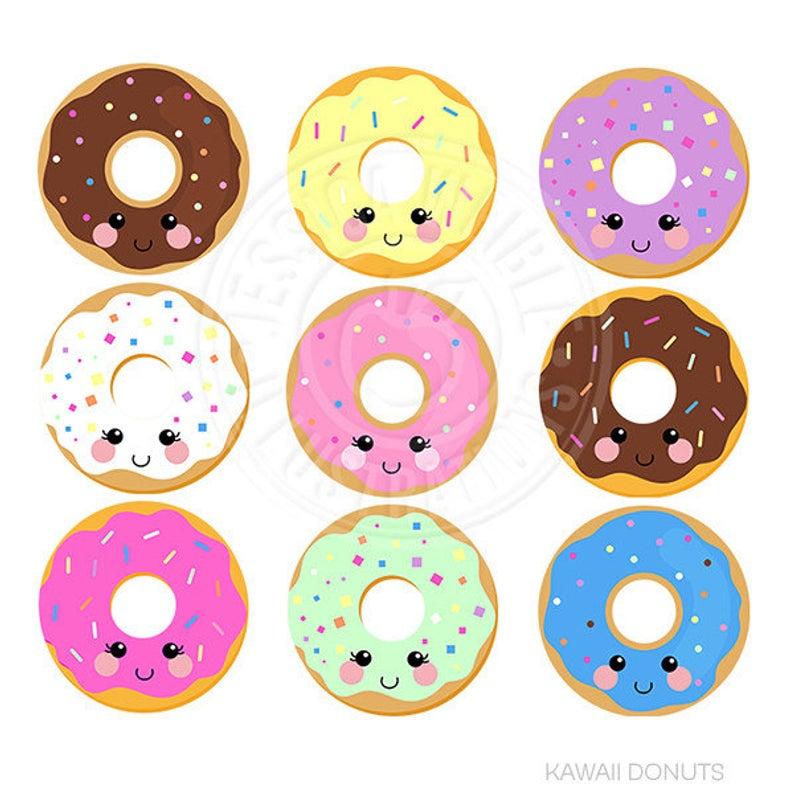 Kawaii Donuts Cute Digital Clipart, Donut Clipart, Donut Graphics, Cute  Kawaii Graphics, Kawaii Clip art, Sprinkled Donut, Instant Download.