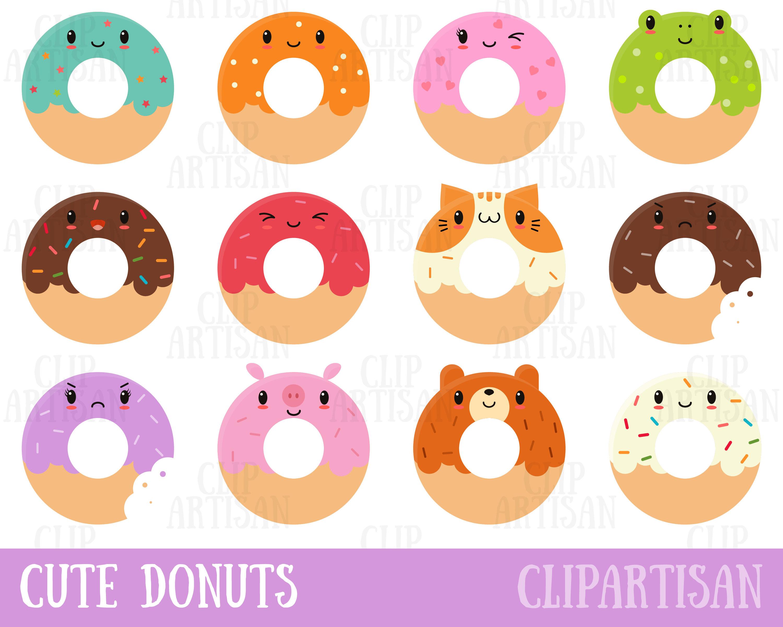 Kawaii Donuts Clipart / Cute Donut Clipart / Doughnuts Clip Art.