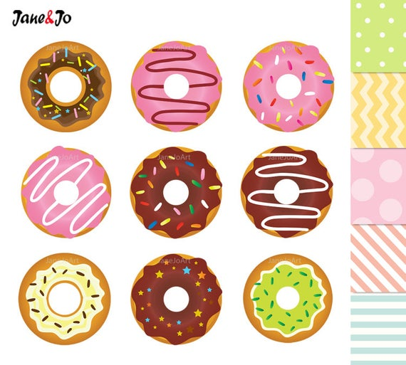 50% OFF SALE Donuts Clipart , Donuts Digital Clip Art , Sweet Doughnut  ,Donut Graphics , dessert sweets Clipart Cupcake Toppers illustration.