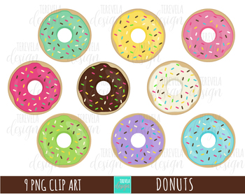 DONUTS clipart, food clipart, desserts clipart, cute.