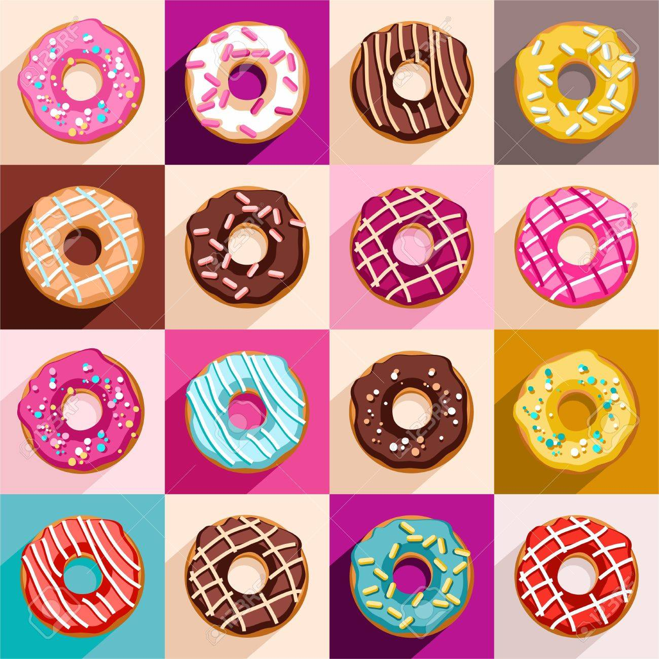 Donuts, vector clip art. Doughnuts, covered with a colored glaze...