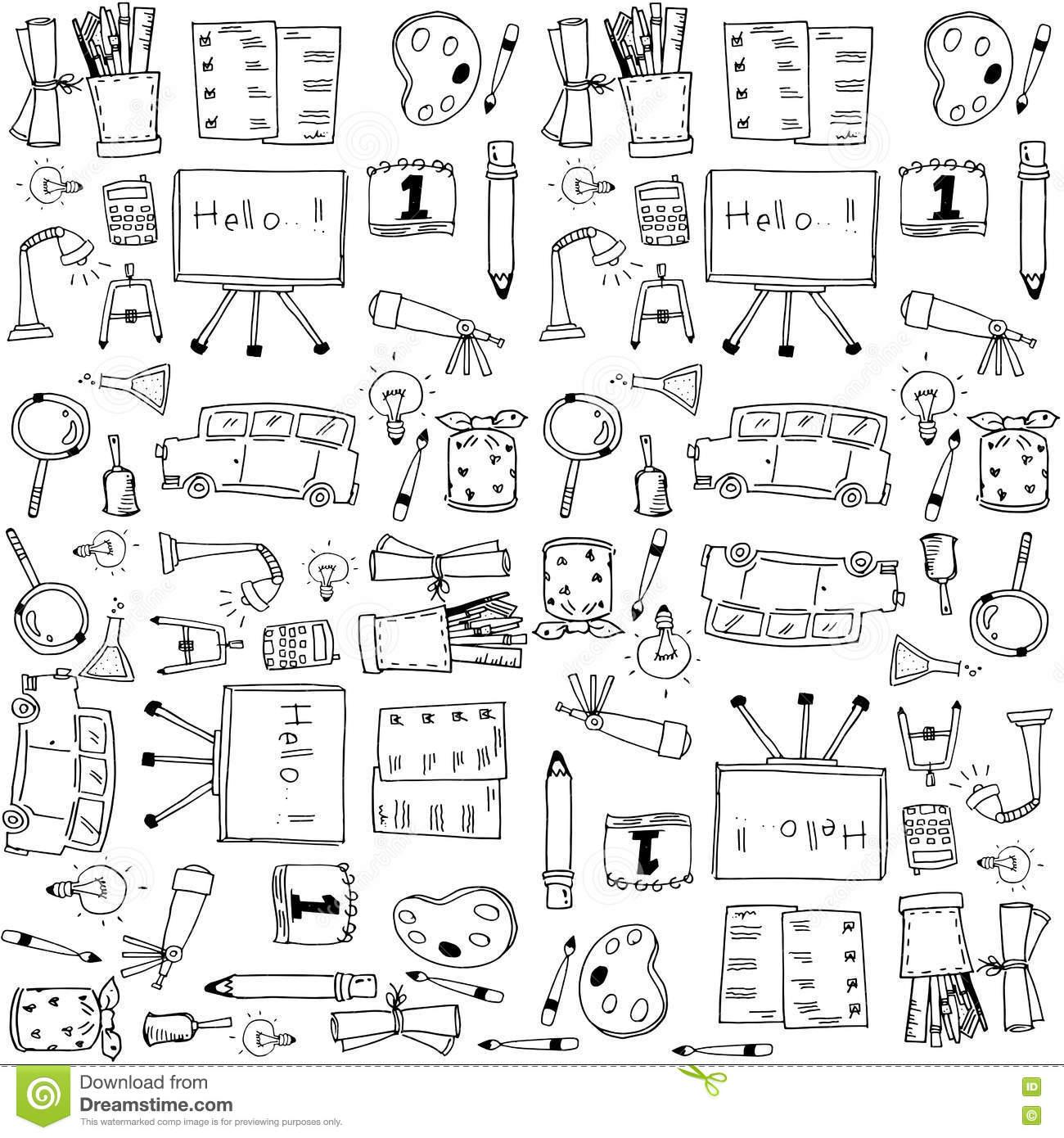 Doodle School Clip Art Hand Draw Stock Vector.