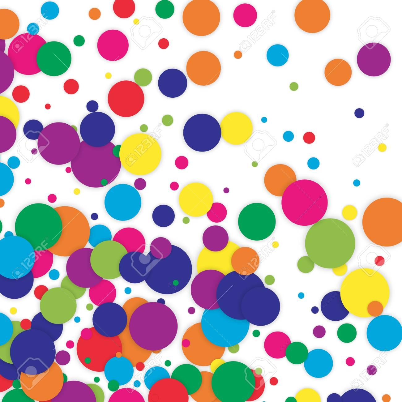Polka dot colored confetti clip art. Vector texture background...