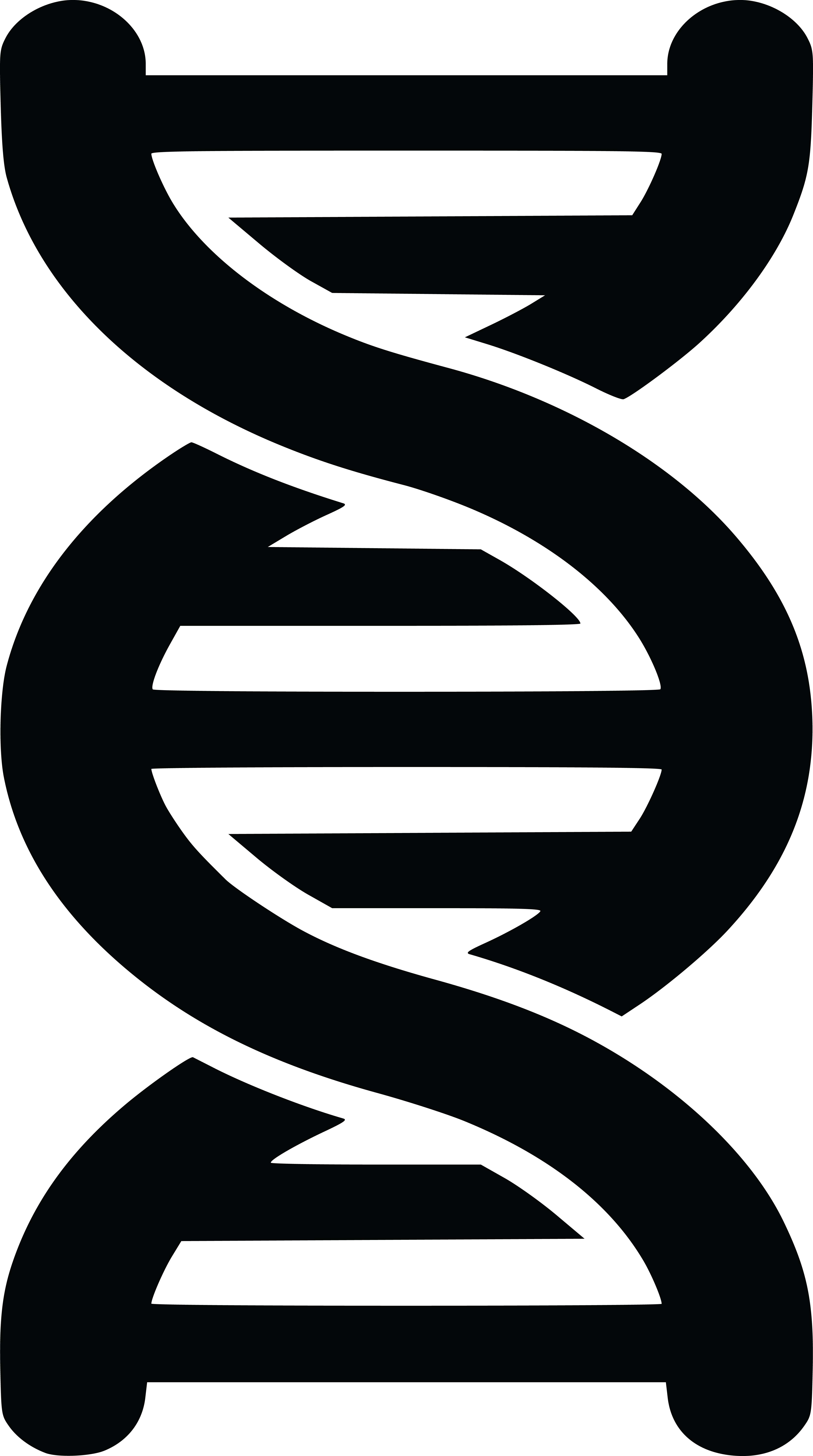 Free Clipart of a black and white dna strand double helix.