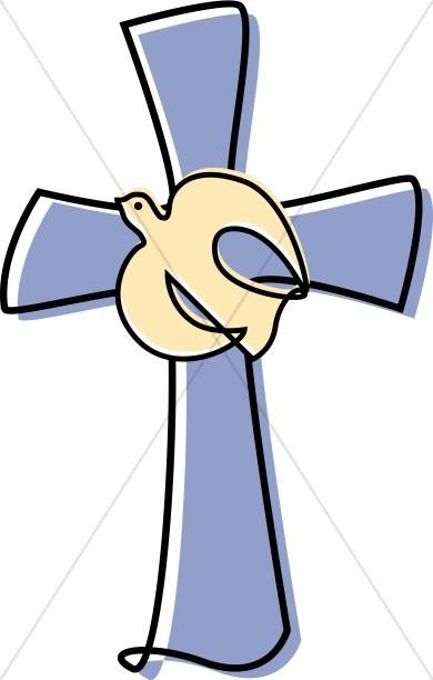 Lavendar Cross with a Dove Clipart.