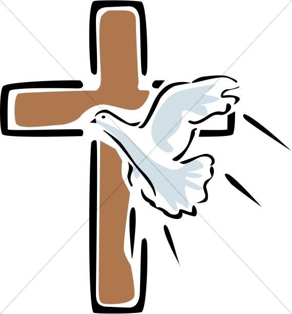 Outlined Cross with Flying Dove.