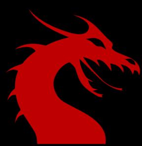 Dragon Head Silhouette Red clip art.